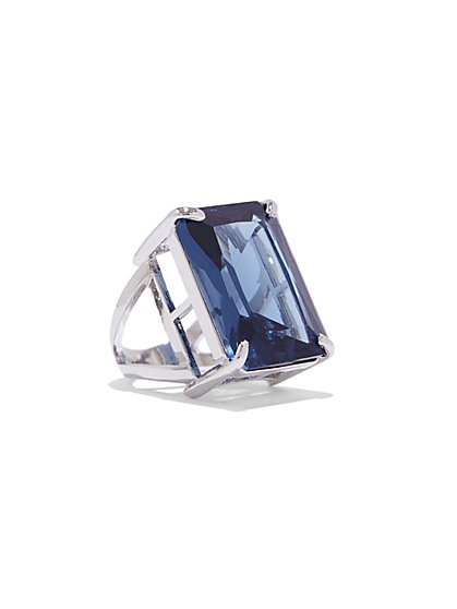 Faux-Sapphire Silvertone Ring  - New York & Company