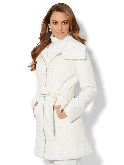 Faux Shearling Belted Coat  - New York & Company