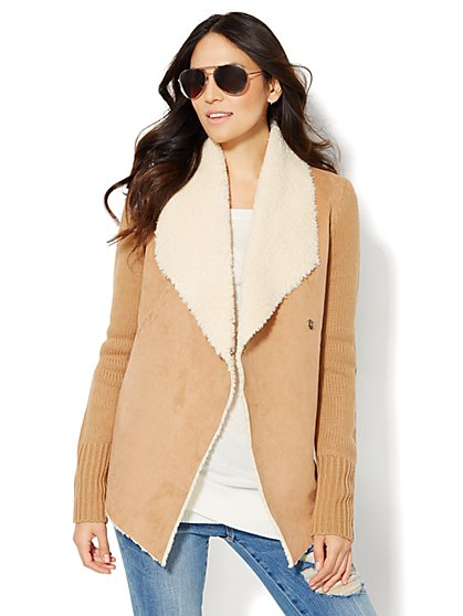 Faux Shearling-Trim Sweater Jacket - New York & Company