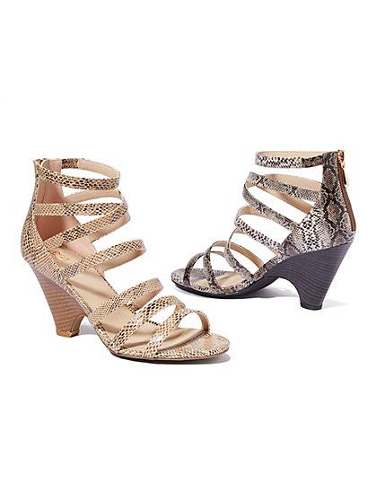 Faux-Snakeskin High-Heel Sandal