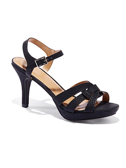Faux-Snakeskin High-Heel Sandal - New York & Company