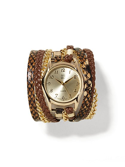 Faux-Snakeskin Wrap Bracelet Watch