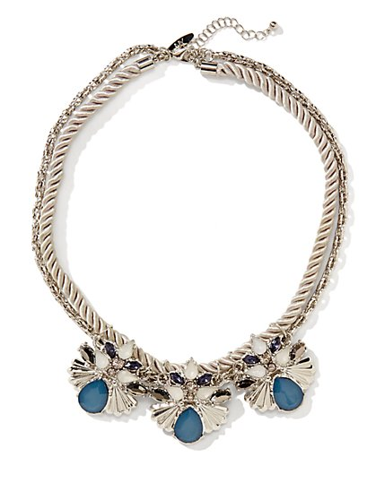 Faux-Stone Accent Short Corded Necklace  - New York & Company