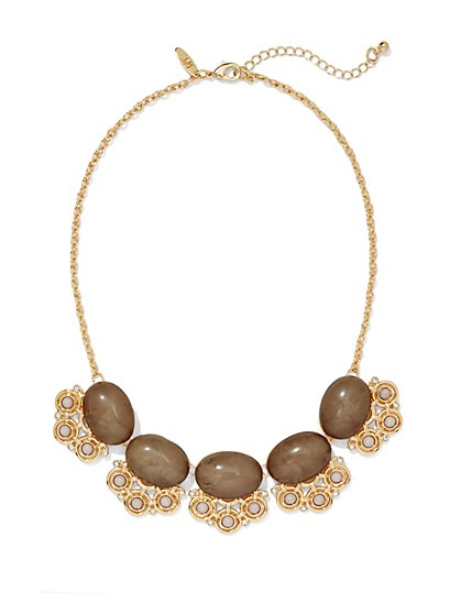 Faux-Stone Cabochon Bib Necklace  - New York & Company