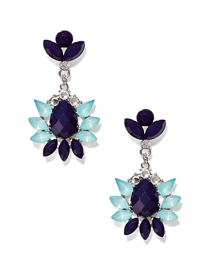 Faux-Stone Cluster Drop Earring  - New York & Company
