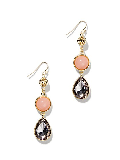 Faux-Stone Double-Drop Earring  - New York & Company