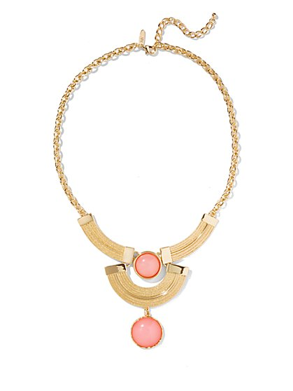 Faux Stone Double-Drop Necklace  - New York & Company