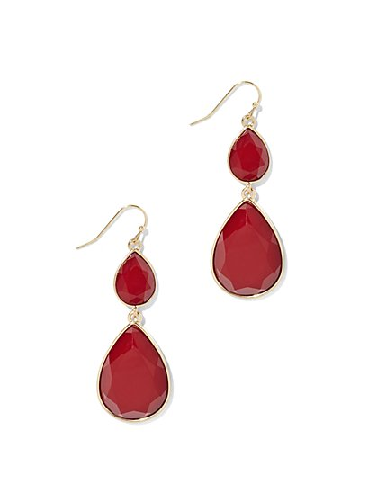 Faux-Stone Double Teardrop Earring  - New York & Company