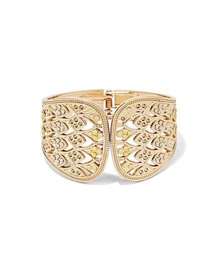 Faux Stone & Filigree Cuff Bracelet  - New York & Company