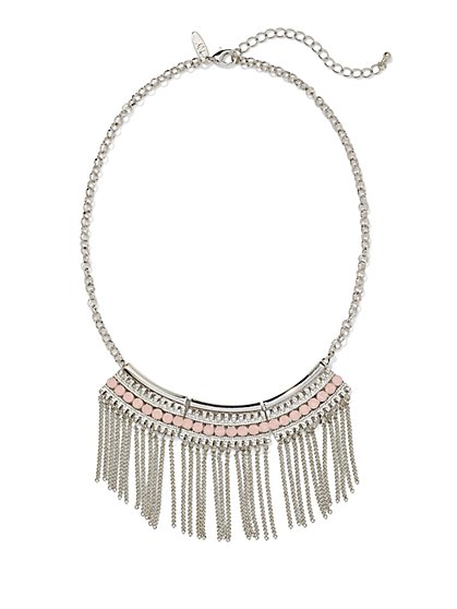 Faux Stone & Fringe Pendant Necklace  - New York & Company