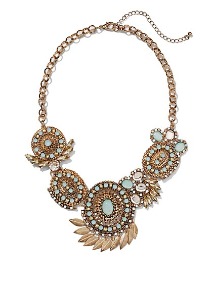 Faux-Stone & Leaf Statement Necklace  - New York & Company