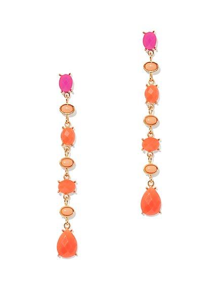 Faux-Stone Linear Drop Earring  - New York & Company