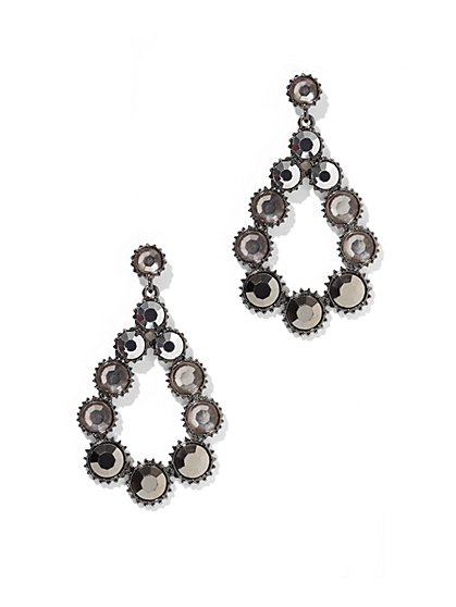 Faux-Stone Open Teardrop Earring - New York & Company