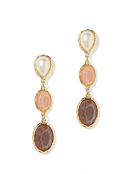 Faux-Stone Triple-Drop Earrings
