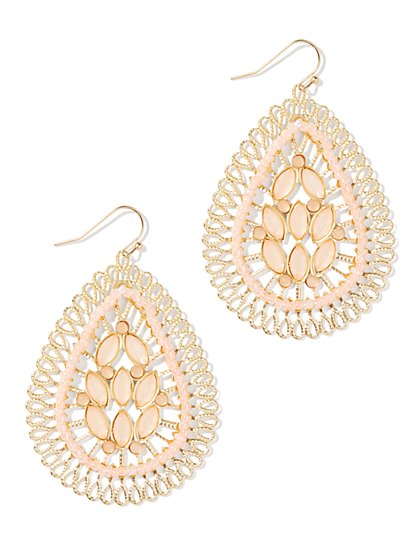 Faux-Stones Teardrop Earrings - New York & Company