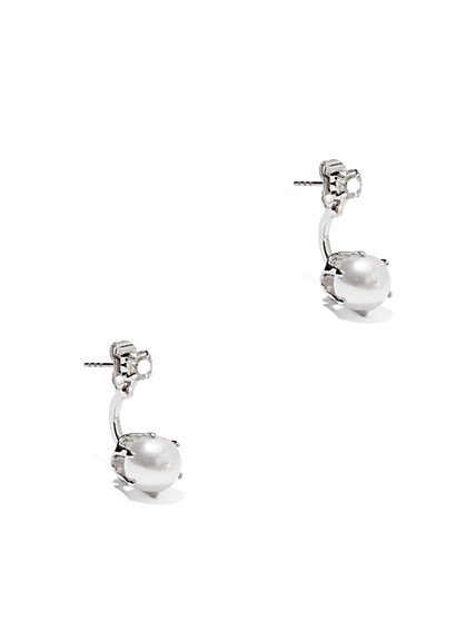 Faux Stones and Faux-Pearl Post Drop Earrings  - New York & Company