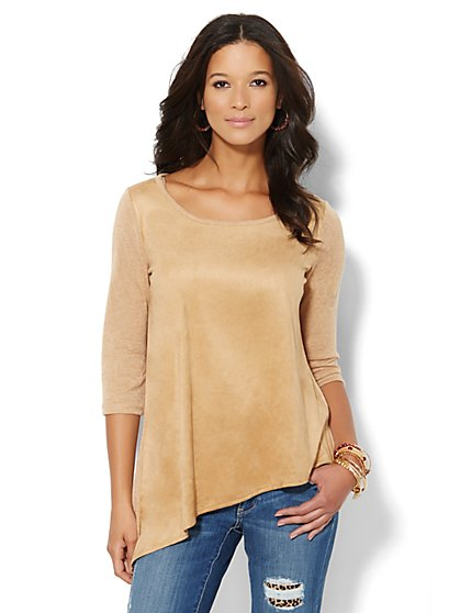 Faux-Suede Asymmetrical Top - New York & Company