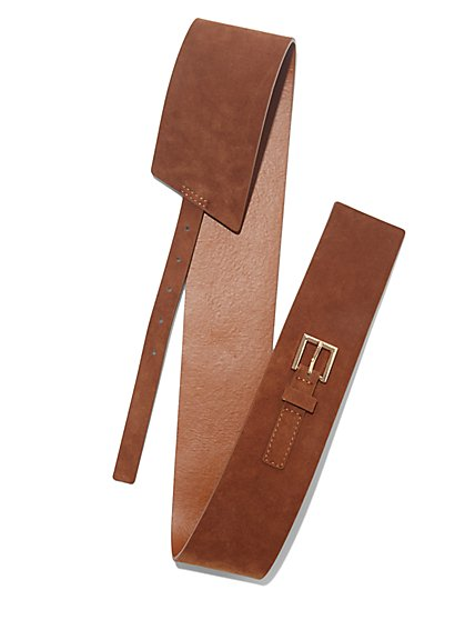 Faux-Suede Buckle Belt - New York & Company