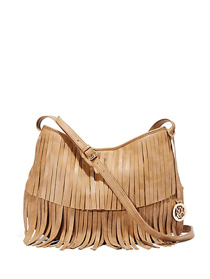 Faux-Suede Fringe Bag  - New York & Company