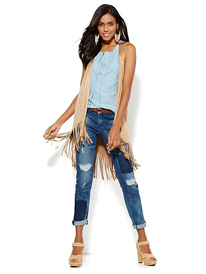 Faux-Suede Fringed Vest  - New York & Company