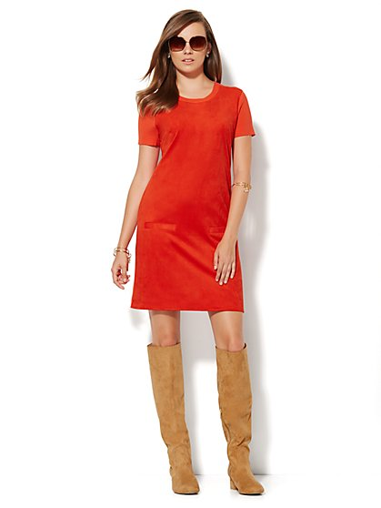 Faux Suede-Front Sweater Dress  - New York & Company