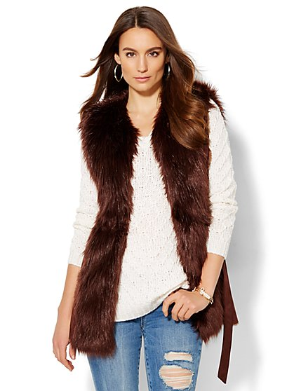 Faux-Suede Fur-Trim Belted Vest  - New York & Company