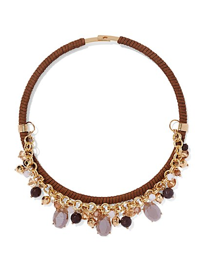 Faux-Suede Glittering Collar Necklace - New York & Company