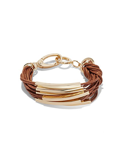 Faux-Suede & Goldtone Bar Bracelet  - New York & Company