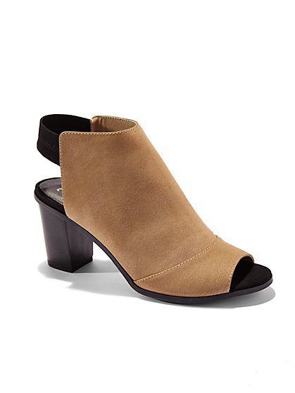Faux-Suede Open-Heel Bootie - New York & Company