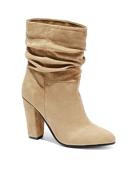 Faux-Suede Scrunch Ankle Boot  - New York & Company