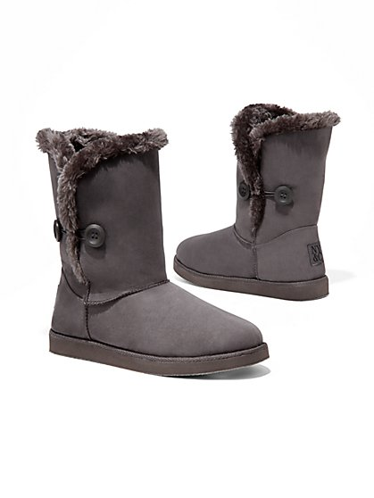 Faux-Suede Sherpa-Lined Boot - New York & Company