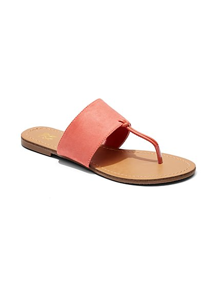 Faux-Suede T-Strap Sandal  - New York & Company