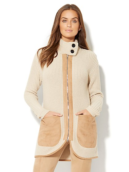 Faux-Suede Trim Cardigan - New York & Company