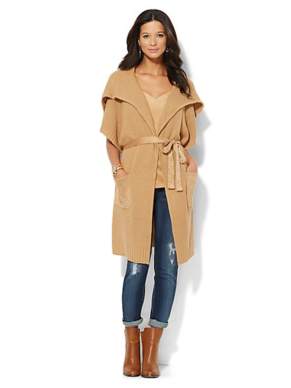 Faux Suede-Trim Flyaway Duster  - New York & Company