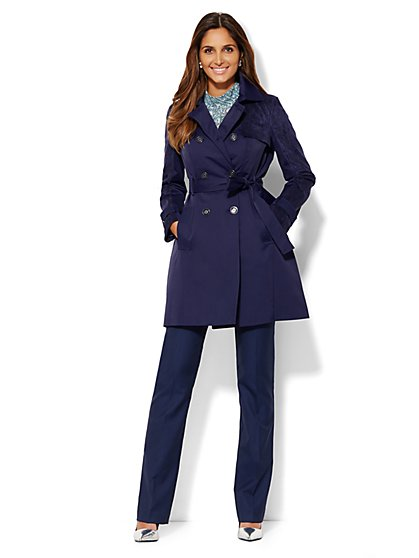 Faux Suede-Trim Trench Coat  - New York & Company