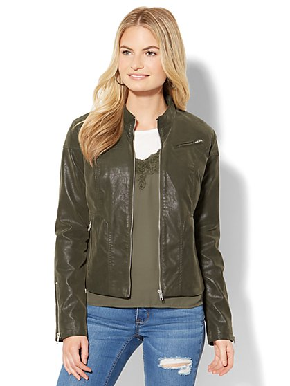 Faux-Suede Zip-Accent Moto Jacket - New York & Company