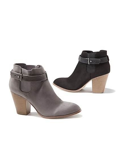 Faux Suede and Faux Leather Bootie  - New York & Company