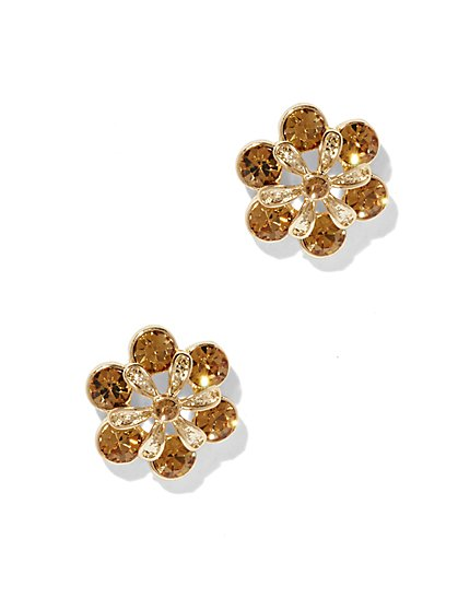 Faux-Topaz Floral Post Earring  - New York & Company