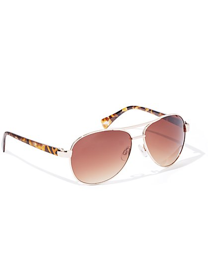 Faux Tortoise Aviator Sunglasses - New York & Company