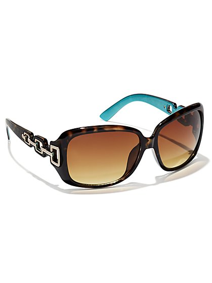 Faux-Tortoise Chain-Link Sunglasses  - New York & Company