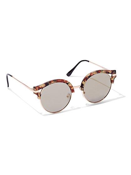 Faux-Tortoise Frame Sunglasses  - New York & Company