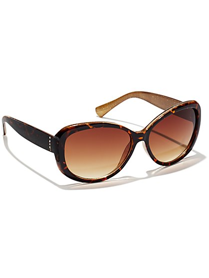 Faux Tortoise & Rhinestone Sunglasses  - New York & Company