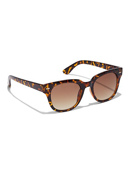 Faux-Tortoise Square-Frame Sunglasses  - New York & Company