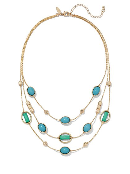 Faux-Turquoise Cabochon Layered Necklace  - New York & Company