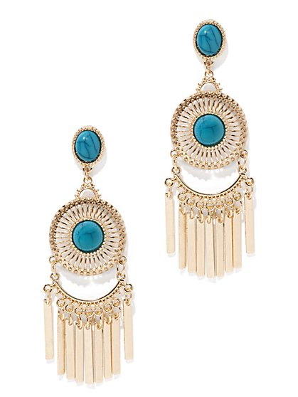 Faux-Turquoise Chandelier Earring  - New York & Company