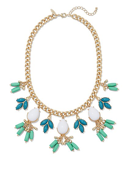 Faux-Turquoise Goldtone Chain-Link Necklace  - New York & Company