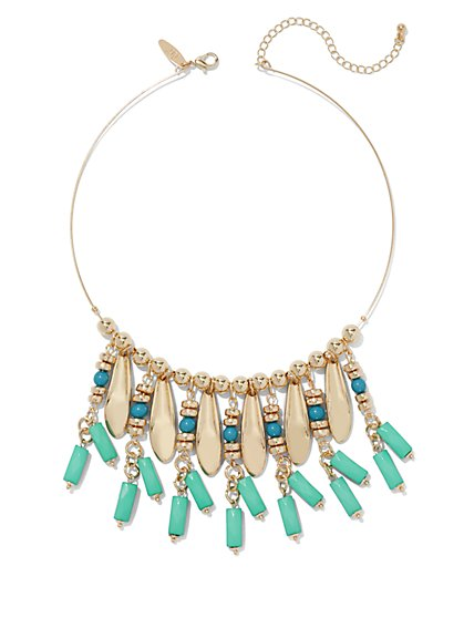 Faux-Turquoise Goldtone Collar Necklace  - New York & Company