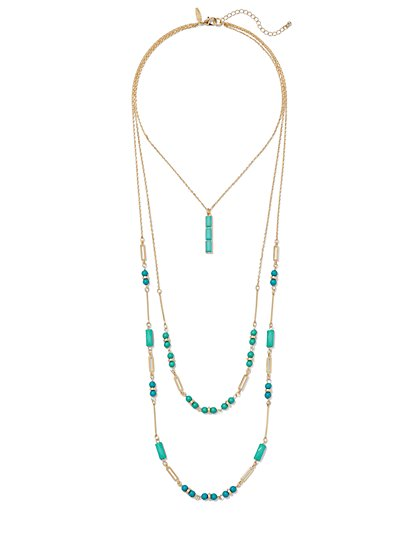 Faux-Turquoise Layered Necklace  - New York & Company