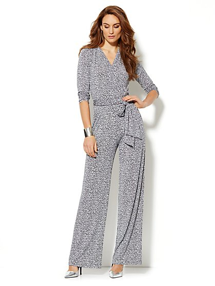 Faux-Wrap 3/4-Sleeve Jumpsuit - Print