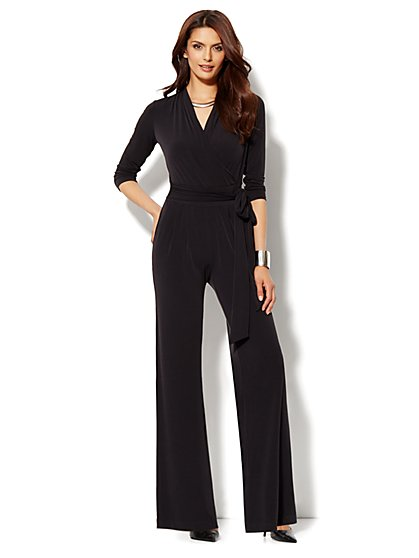 Faux-Wrap 3/4-Sleeve Jumpsuit